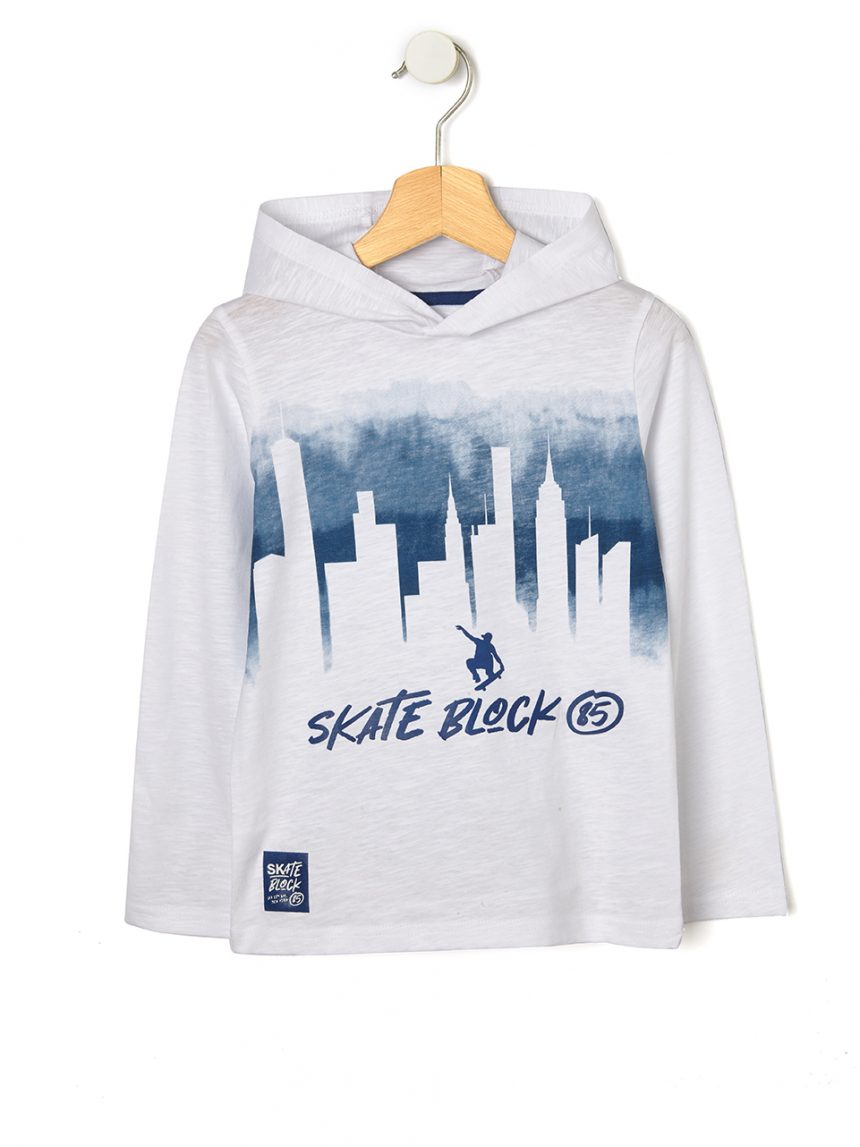 Camiseta com capuz e estampa de skate - Prénatal
