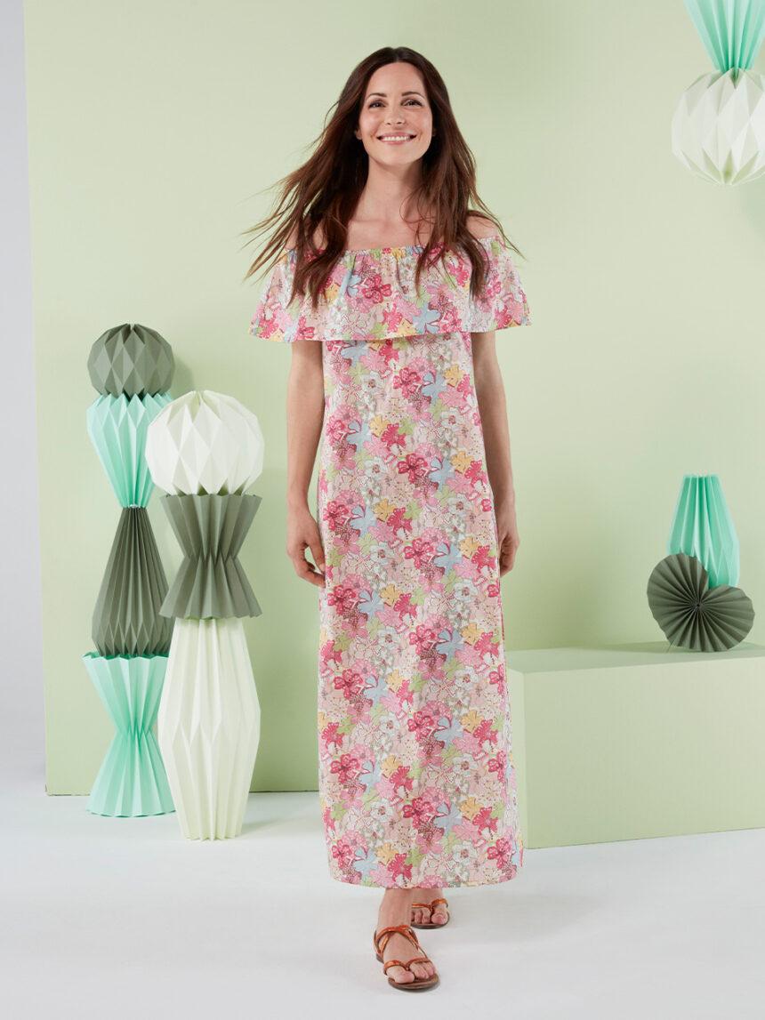 """Vestido longo """"flor"""" em tecido liberty - Prénatal"""