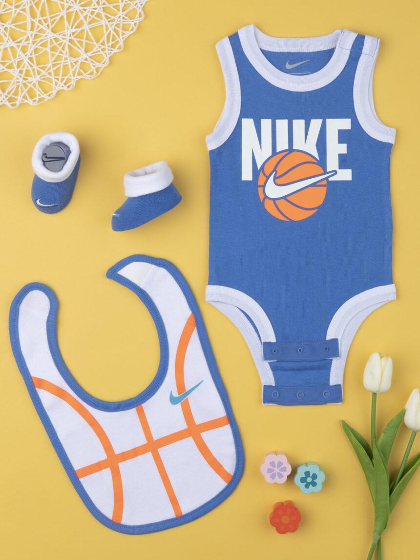 Nike boy body completo, babador e chinelos azul e laranja 6-12 meses - Nike