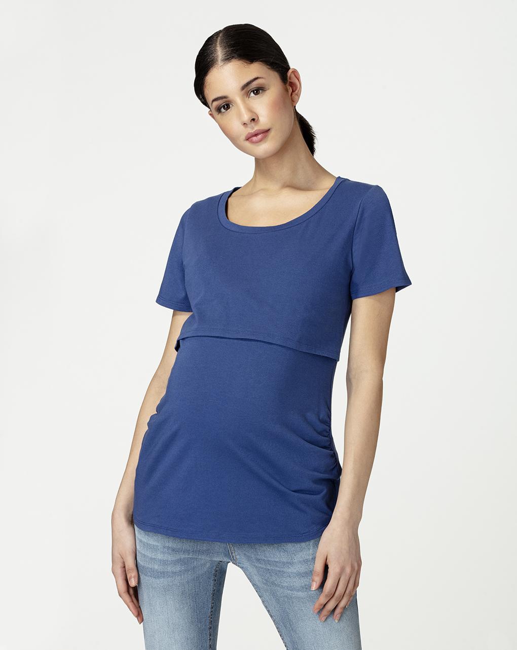 Camiseta azul de amamentação - Prénatal