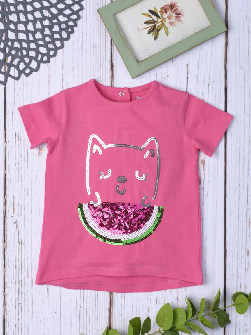Camiseta bimba rosa glitter - Prénatal