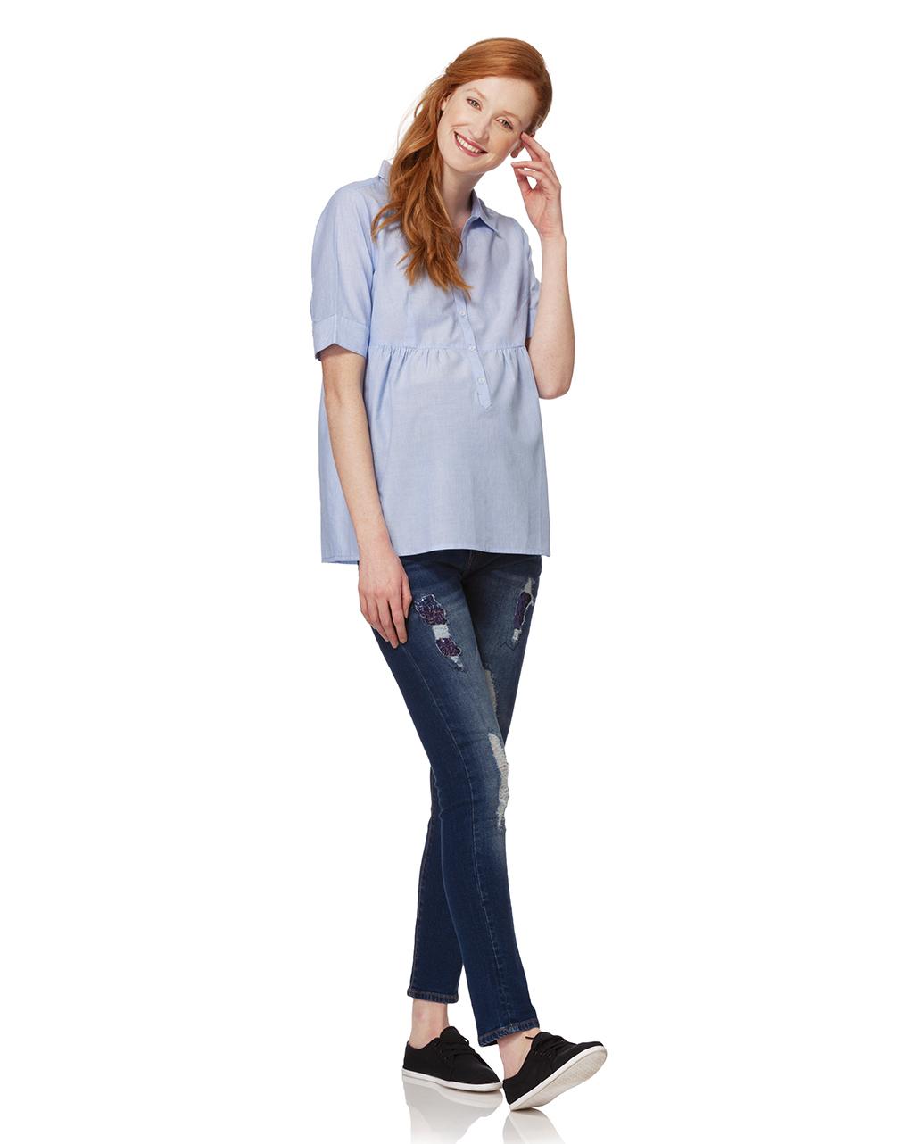 Camisa listrada azul clara com mangas curtas - Prénatal