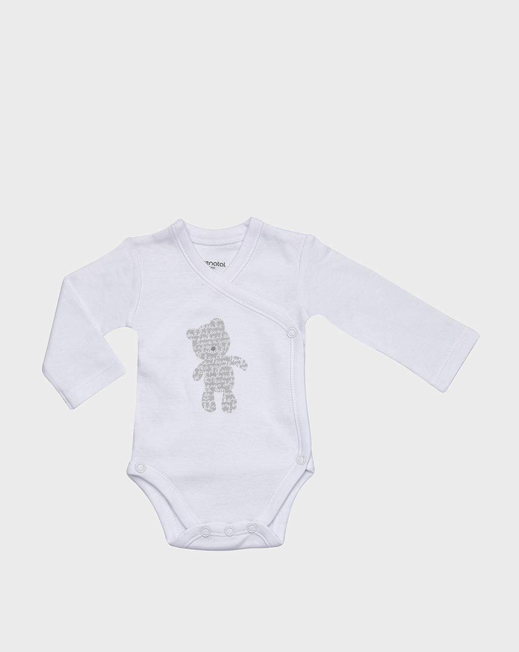Corpo em lã de algodão branco com ursinho de pelúcia - Prénatal