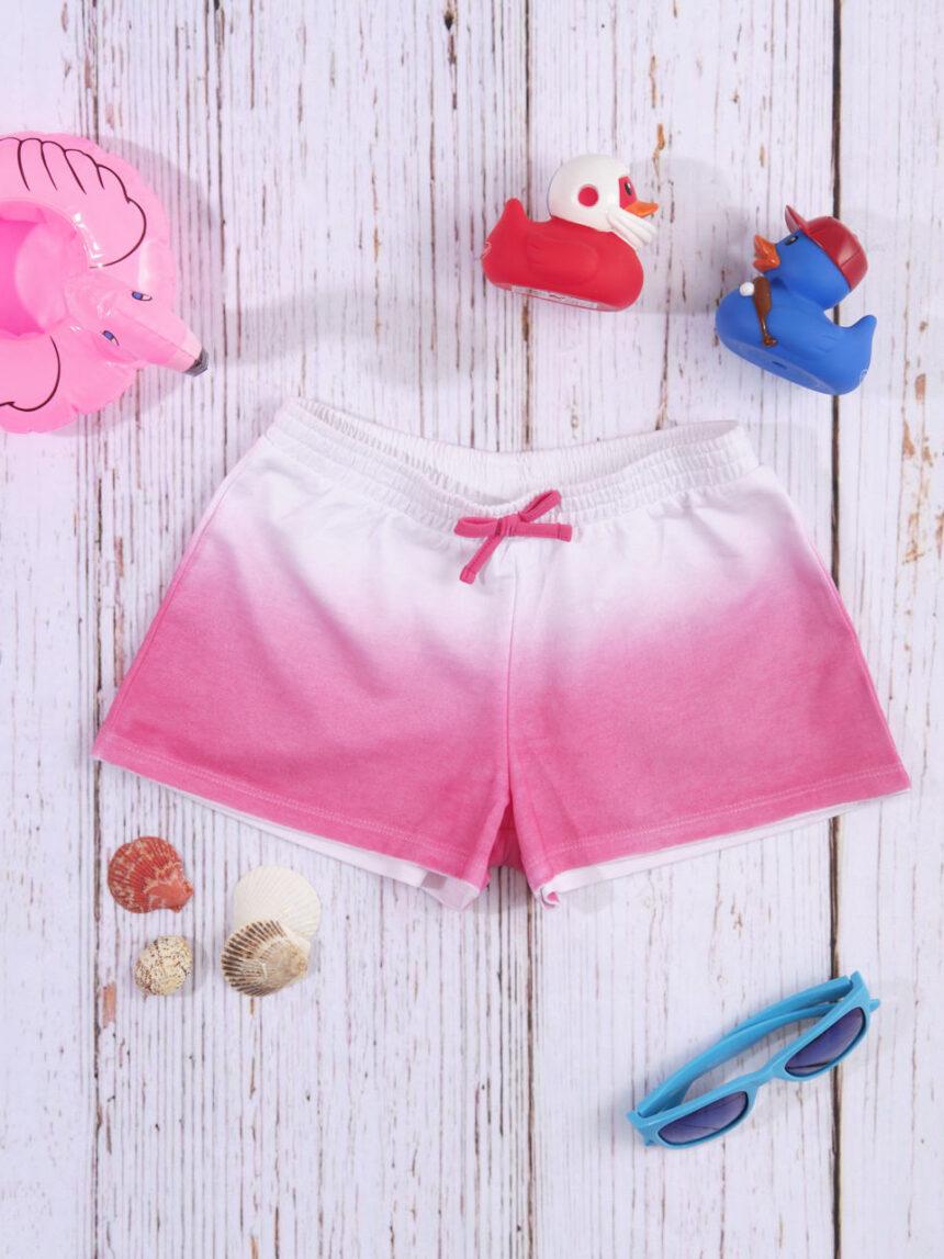 Shorts de jersey branco / rosa com efeito gradiente - Prénatal