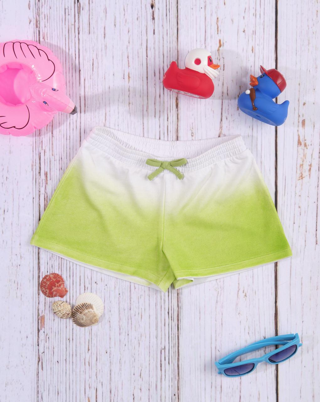Shorts de jersey branco / verde com efeito gradiente - Prénatal