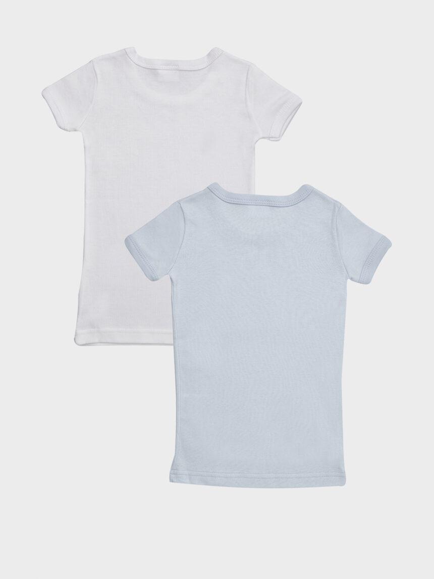 Pacote de 2 camisetas de mangas curtas em algodão polar azul claro e branco - Prénatal