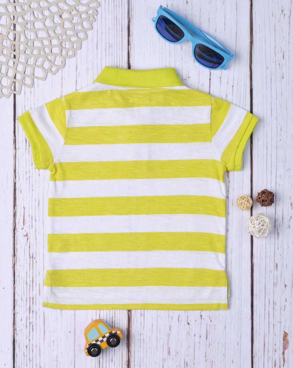 Camisa pólo listrada amarela de menino - Prénatal