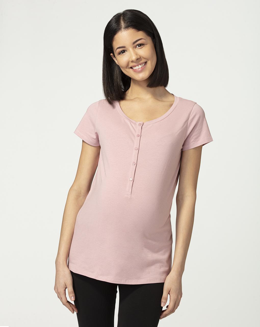 Camiseta de pijama rosa com mistura e combinação - Prénatal