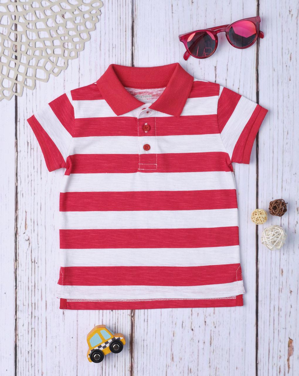 Camisa polo masculina listrada vermelha - Prénatal