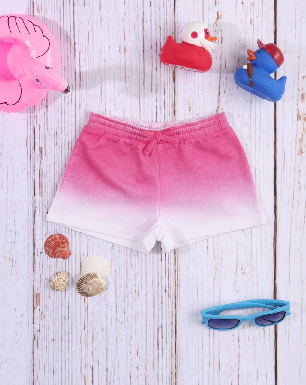 Shorts de jersey rosa / branco com efeito gradiente - Prénatal