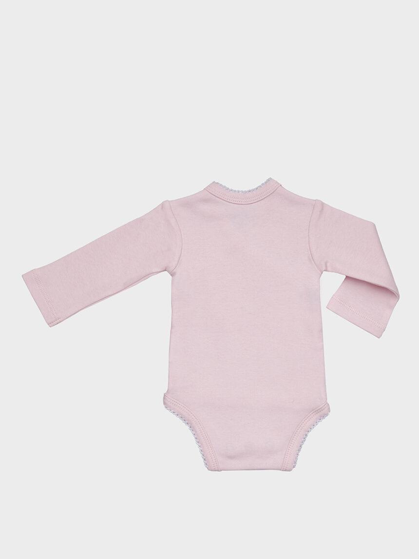 Body de lã rosa com urso branco - Prénatal