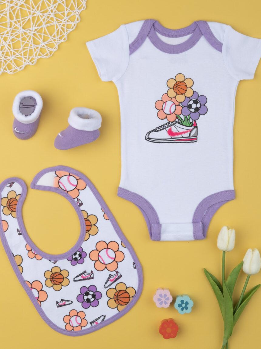 Nike girl body completo, babador e chinelos lilás 0-6 meses - Nike