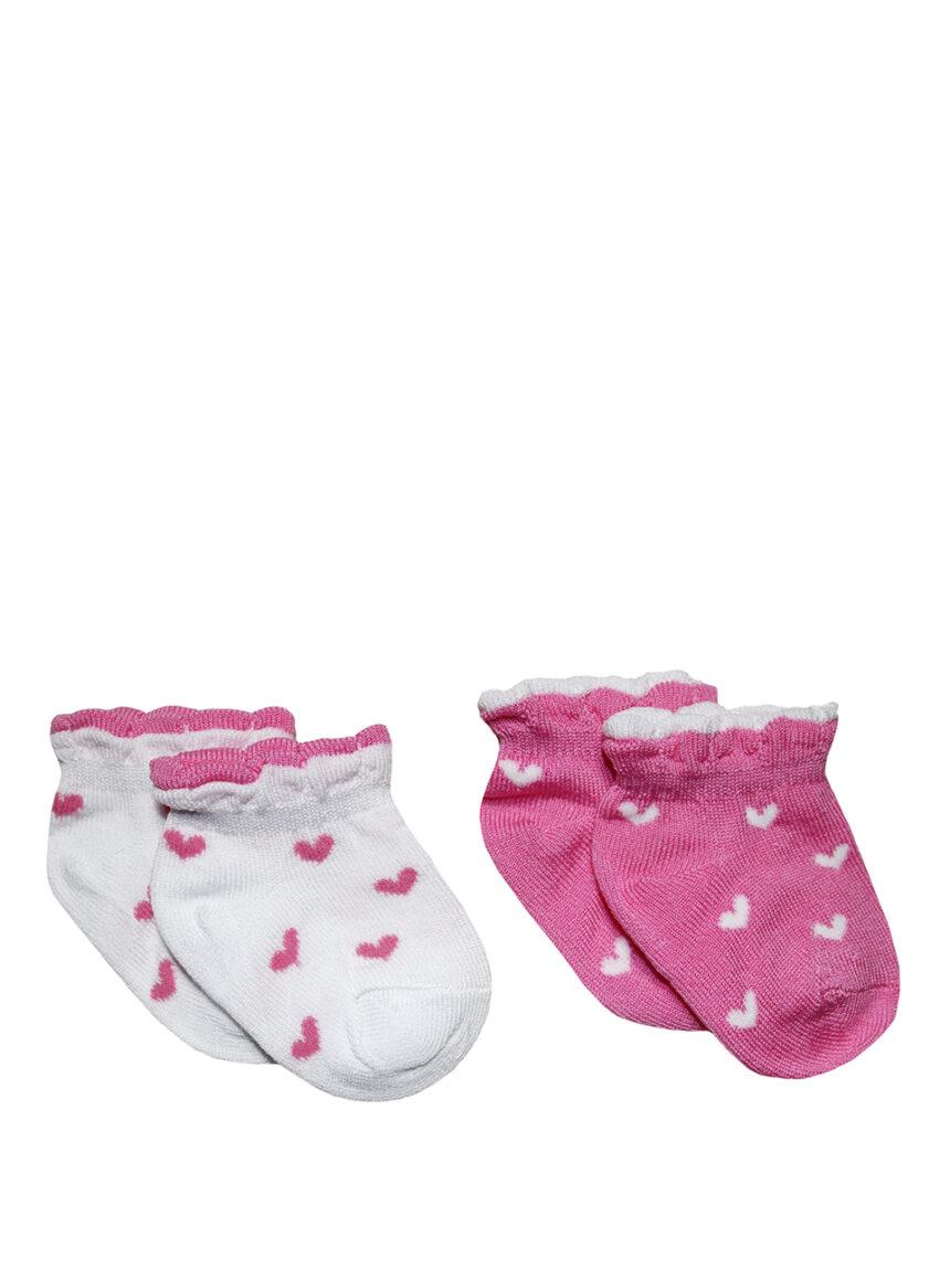 Pacote de 2 pares de meias com estampa de coração - Prénatal