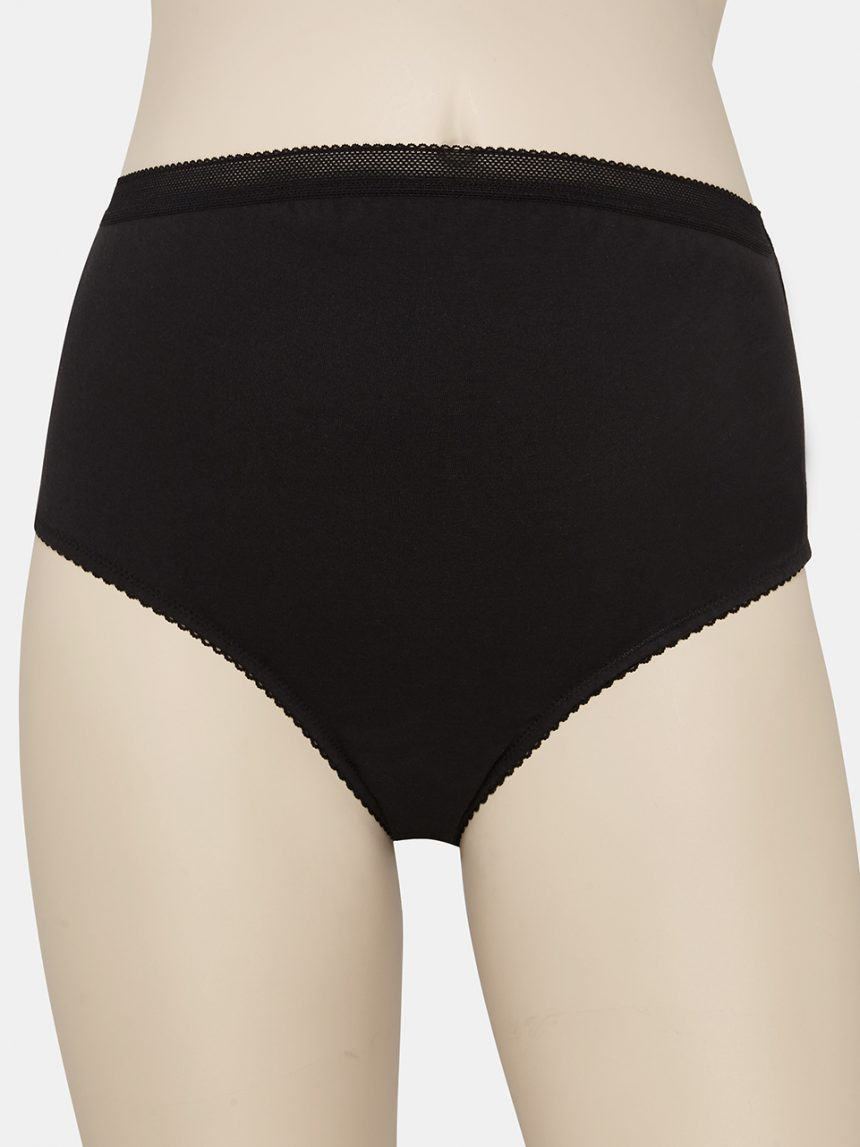 Pacote de 2 cuecas pretas de algodão lycra de cintura alta - Prénatal
