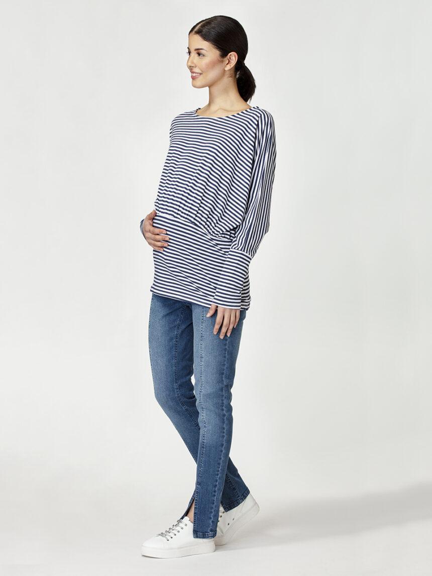 Blusa de maternidade com padrão espinha de peixe horizontal - Prénatal
