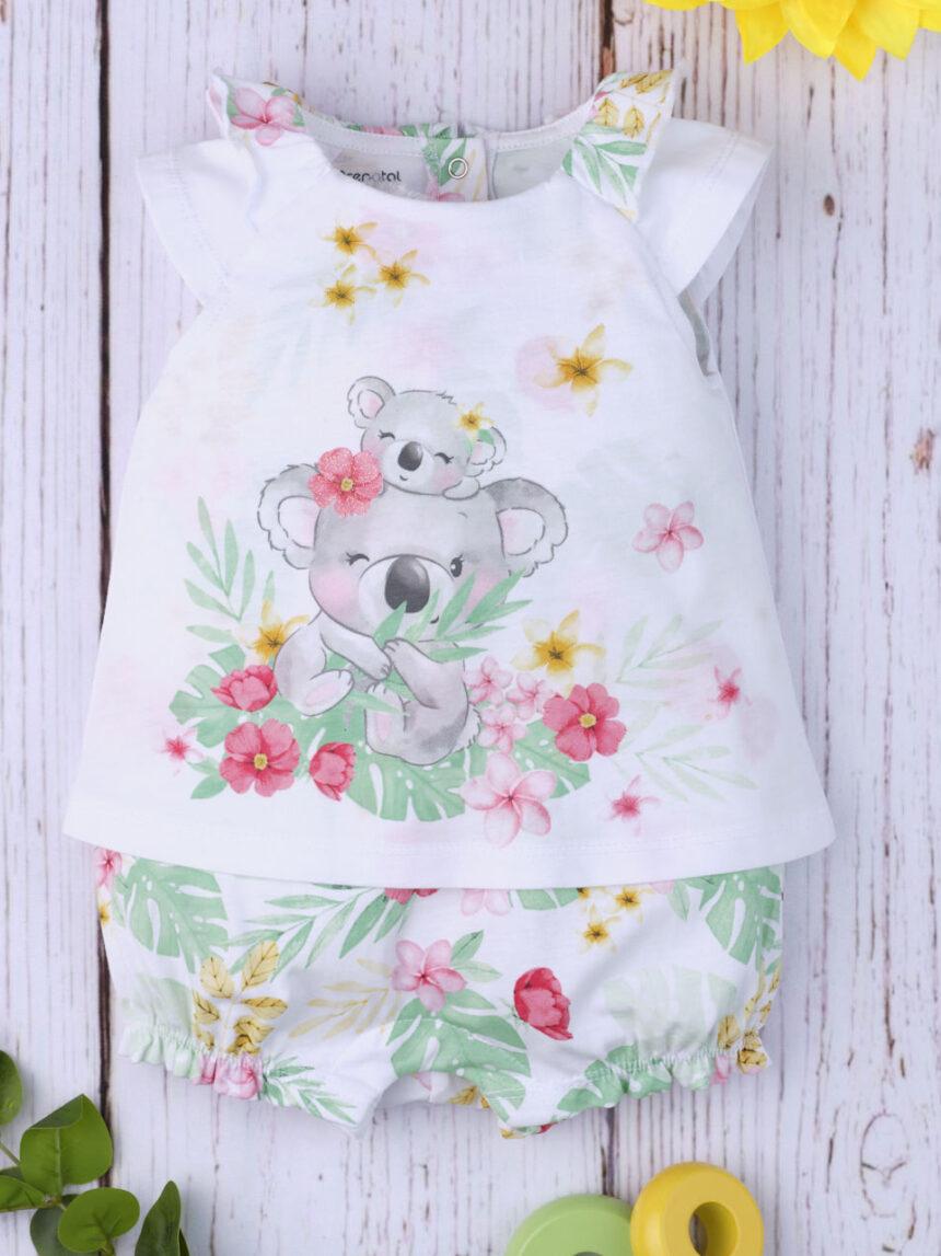 """Macacão de bebê """"coala floral"""" - Prénatal"""