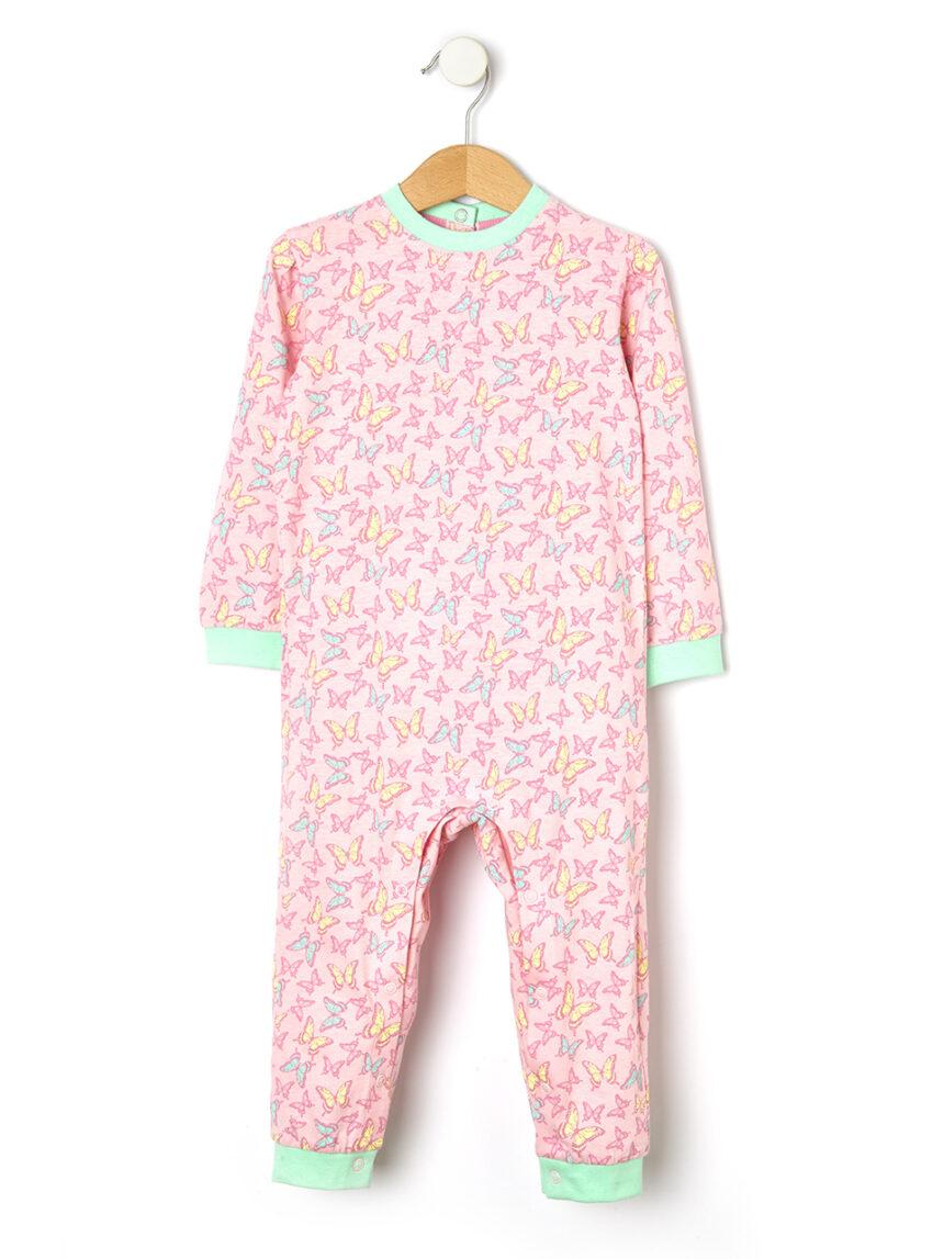 Pijama de malha com estampa borboleta - Prénatal