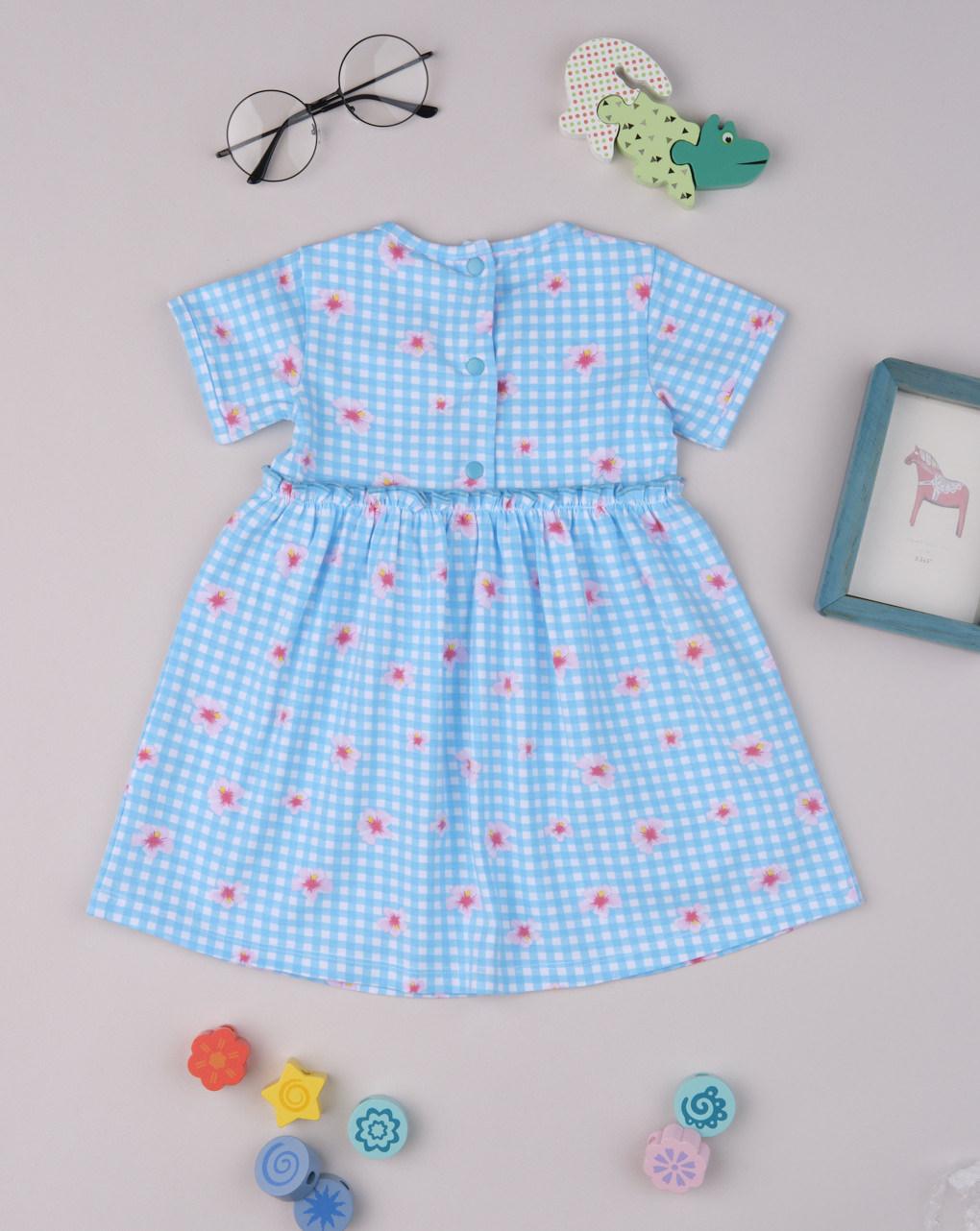 Vestido de jersey xadrez azul - Prénatal