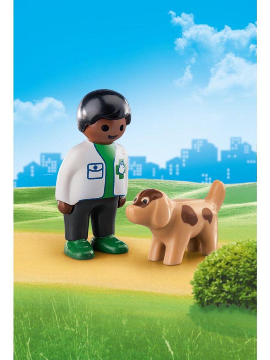 Playmobil - veterinário com cachorro 1.2.3 - Playmobil