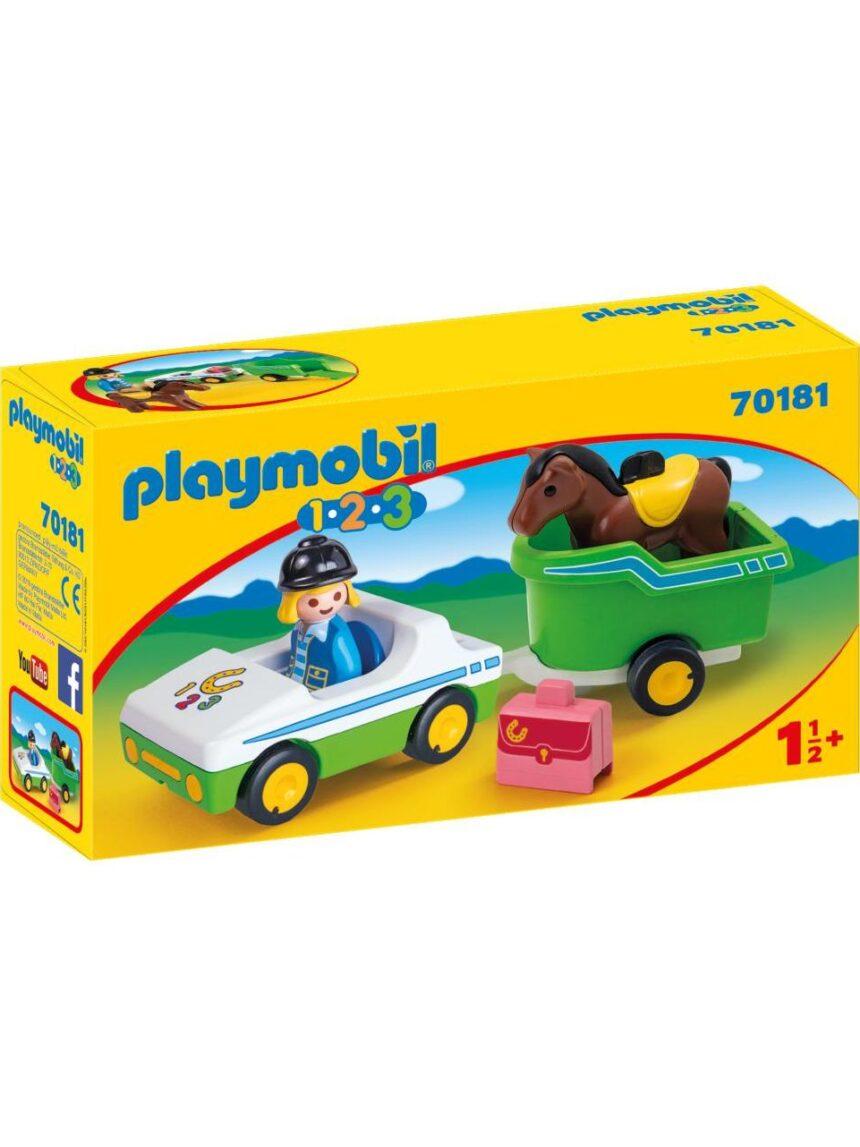 Playmobil - carro com transporte de cavalos 1.2.3 - Playmobil