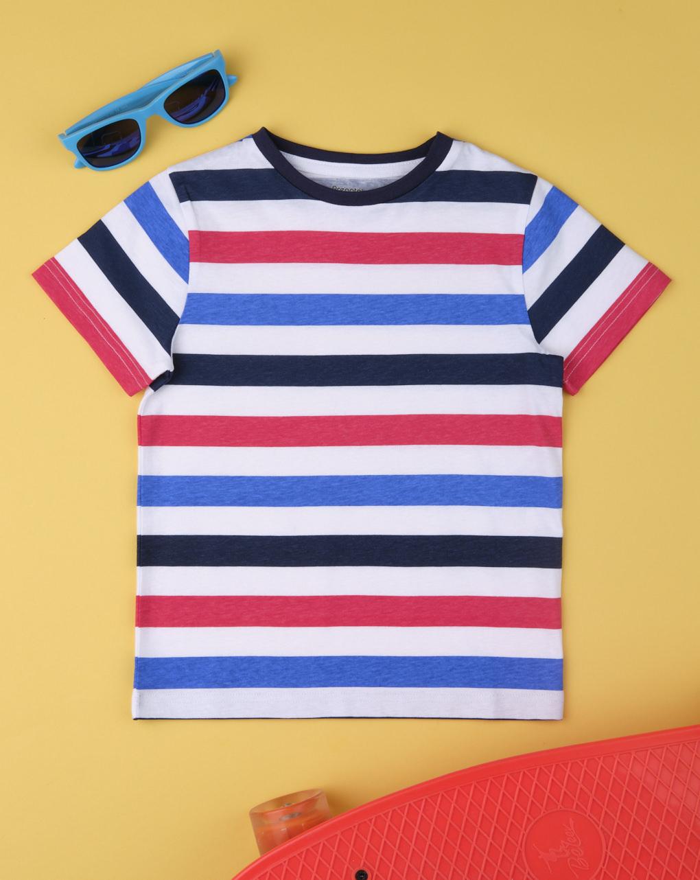 Camiseta masculina listrada em vermelho e azul - Prénatal