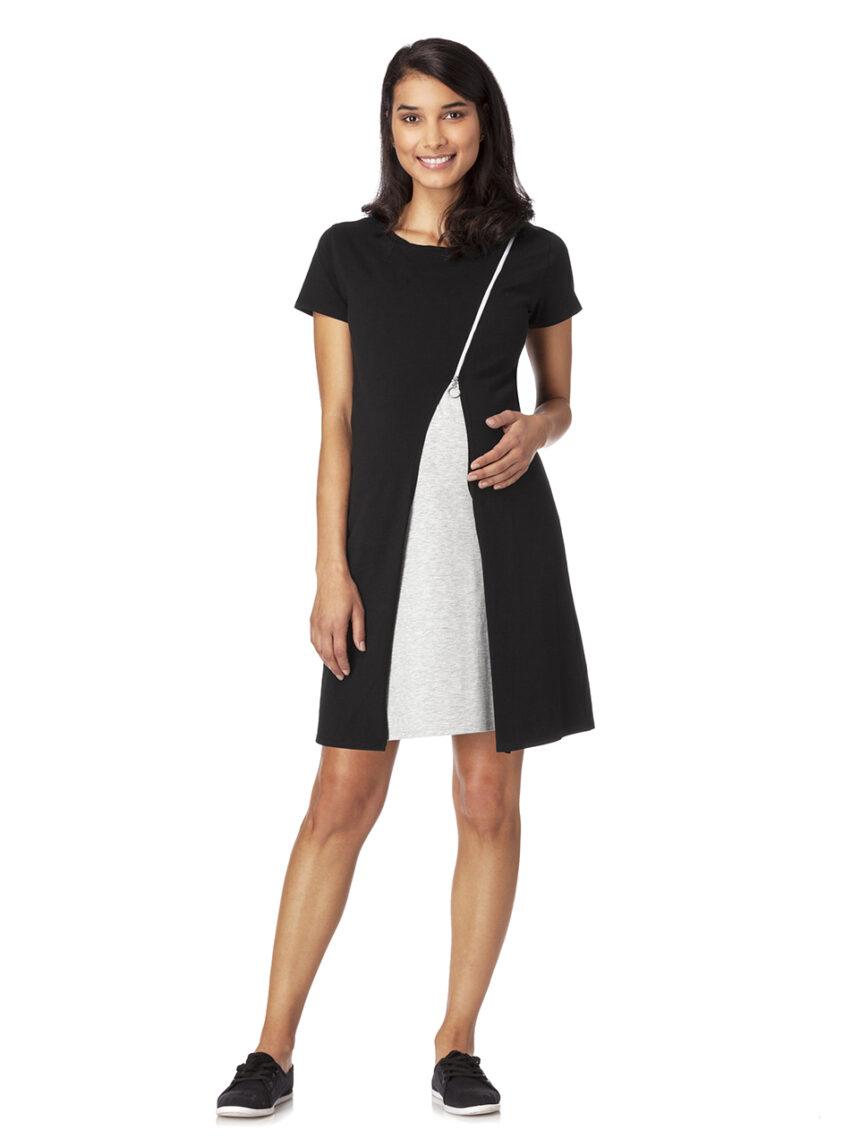 Vestido de enfermagem de algodão preto e branco em dois tons - Prénatal
