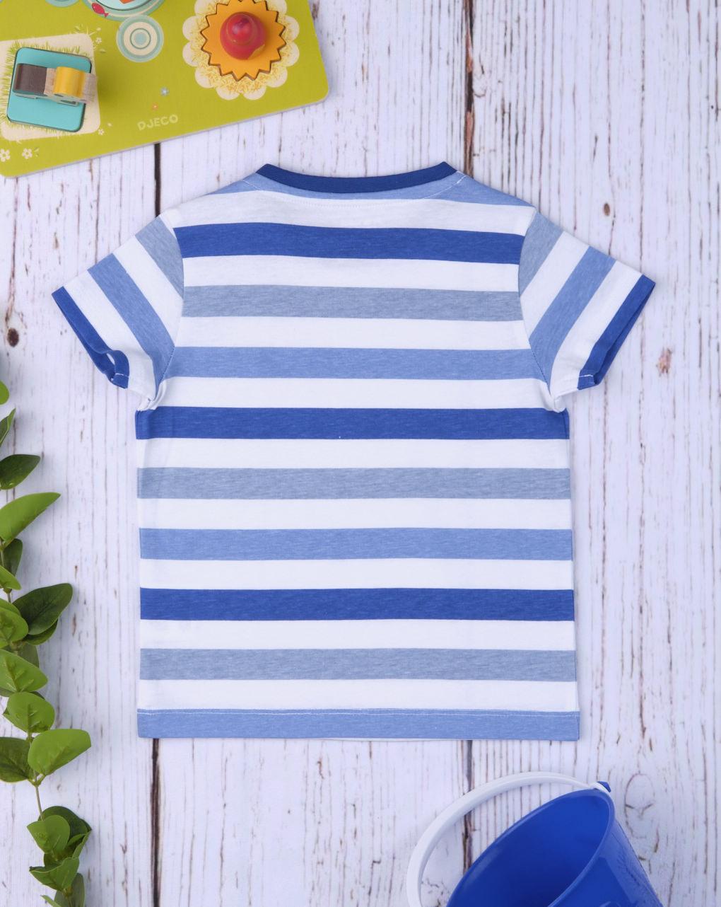 "Camiseta masculina ""azul e cinza"" - Prénatal"