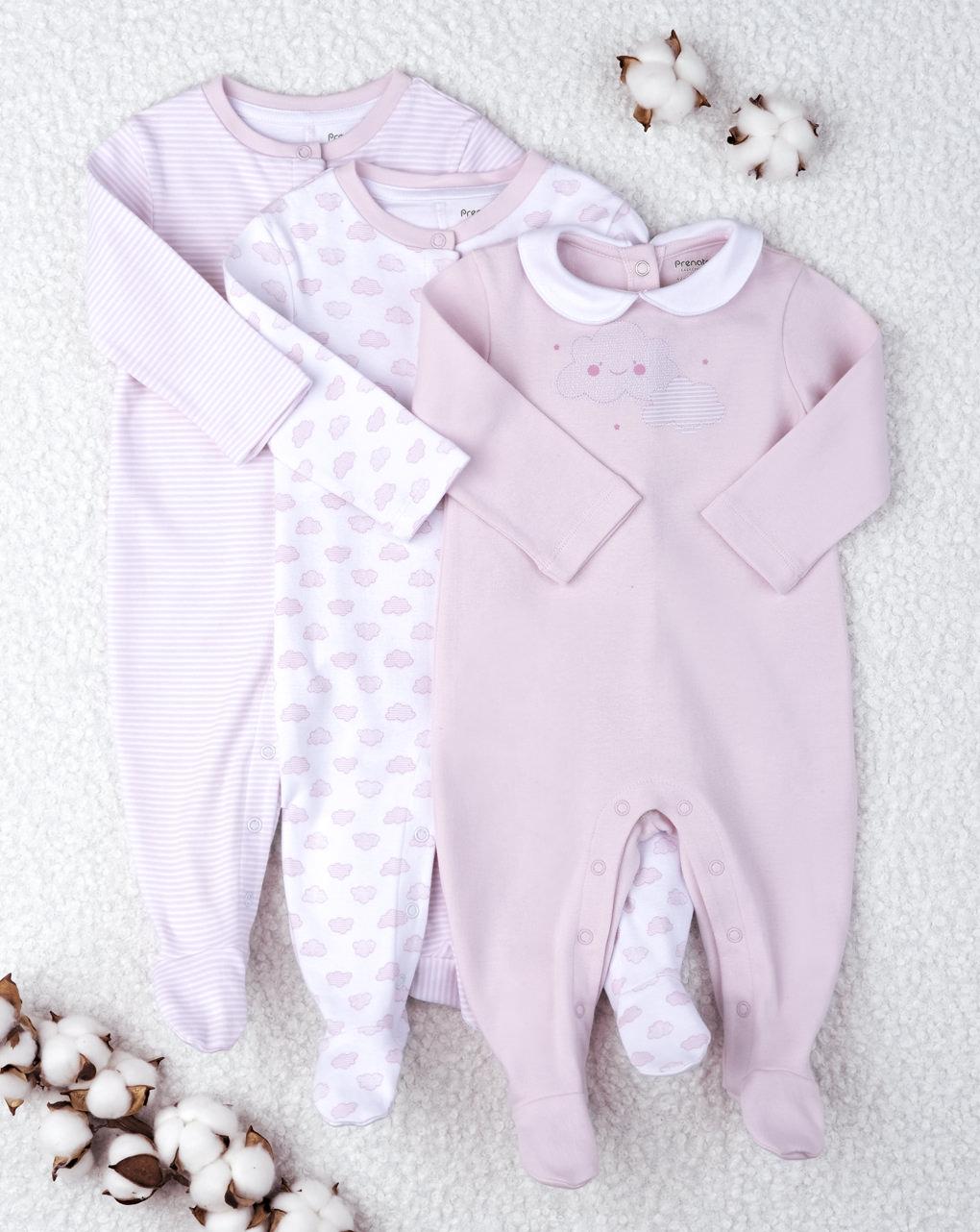 """Pacote de 3 macacões """"rosa"""" para bebês - Prénatal"""