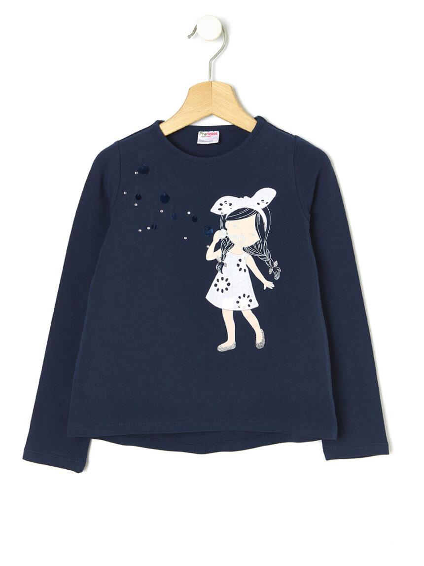 T-shirt com estampado de menina e inserções - Prénatal