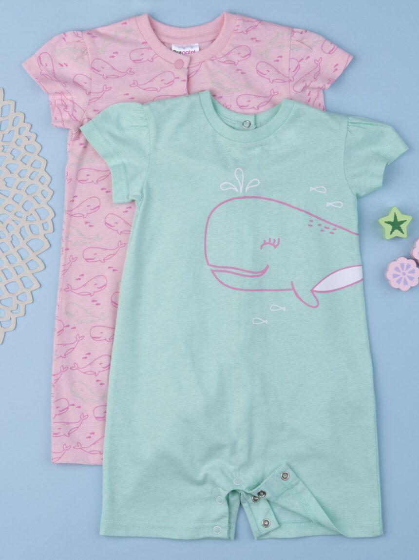 """Pacote de 2 pijamas de menina """"baleia"""" - Prénatal"""