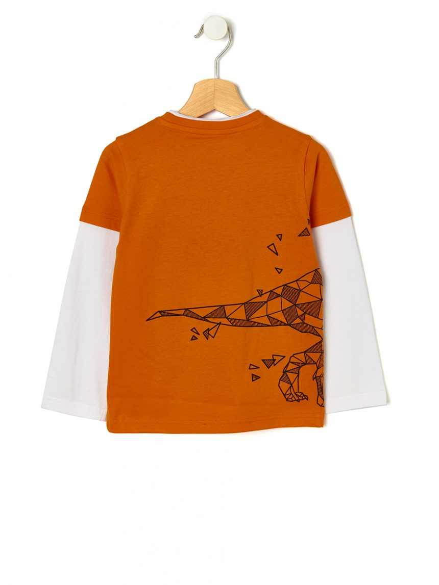 Camiseta dupla com estampa de dinossauro - Prénatal