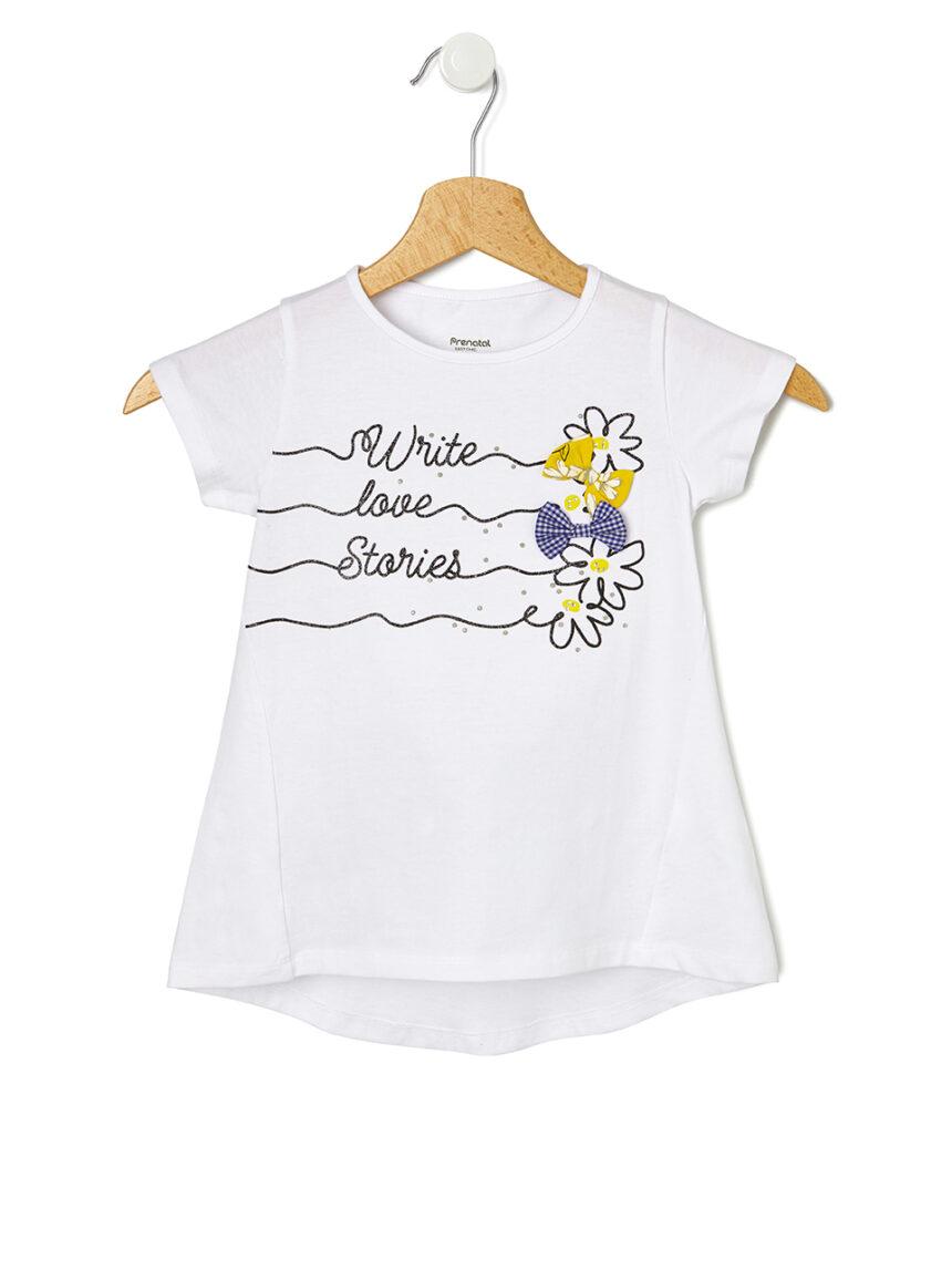 Camiseta com estampa e laços aplicados - Prénatal