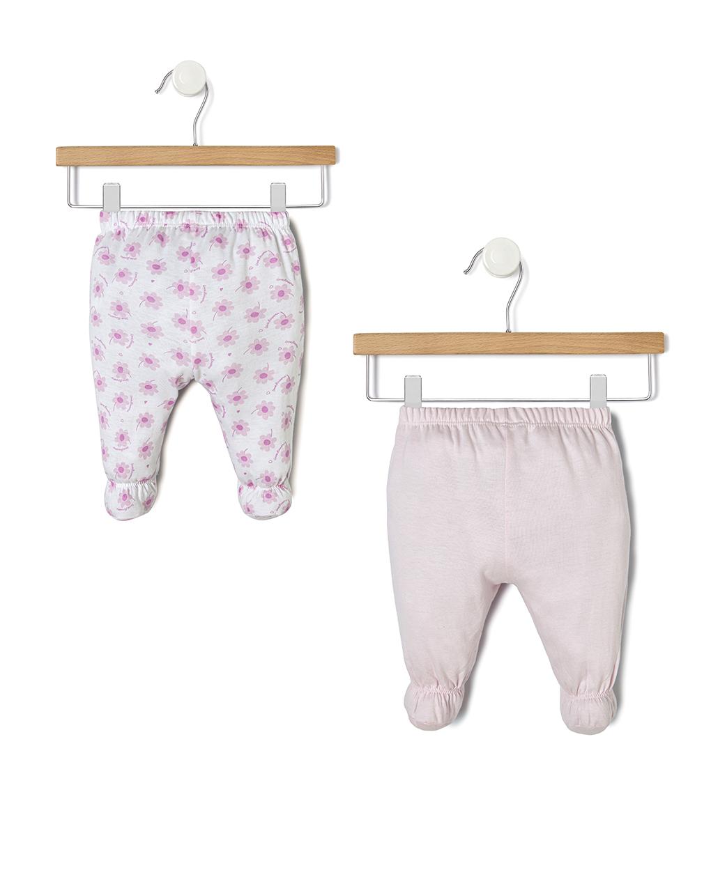 Pacote de 2 trajes rosa e branco com camisa e polainas - Prénatal