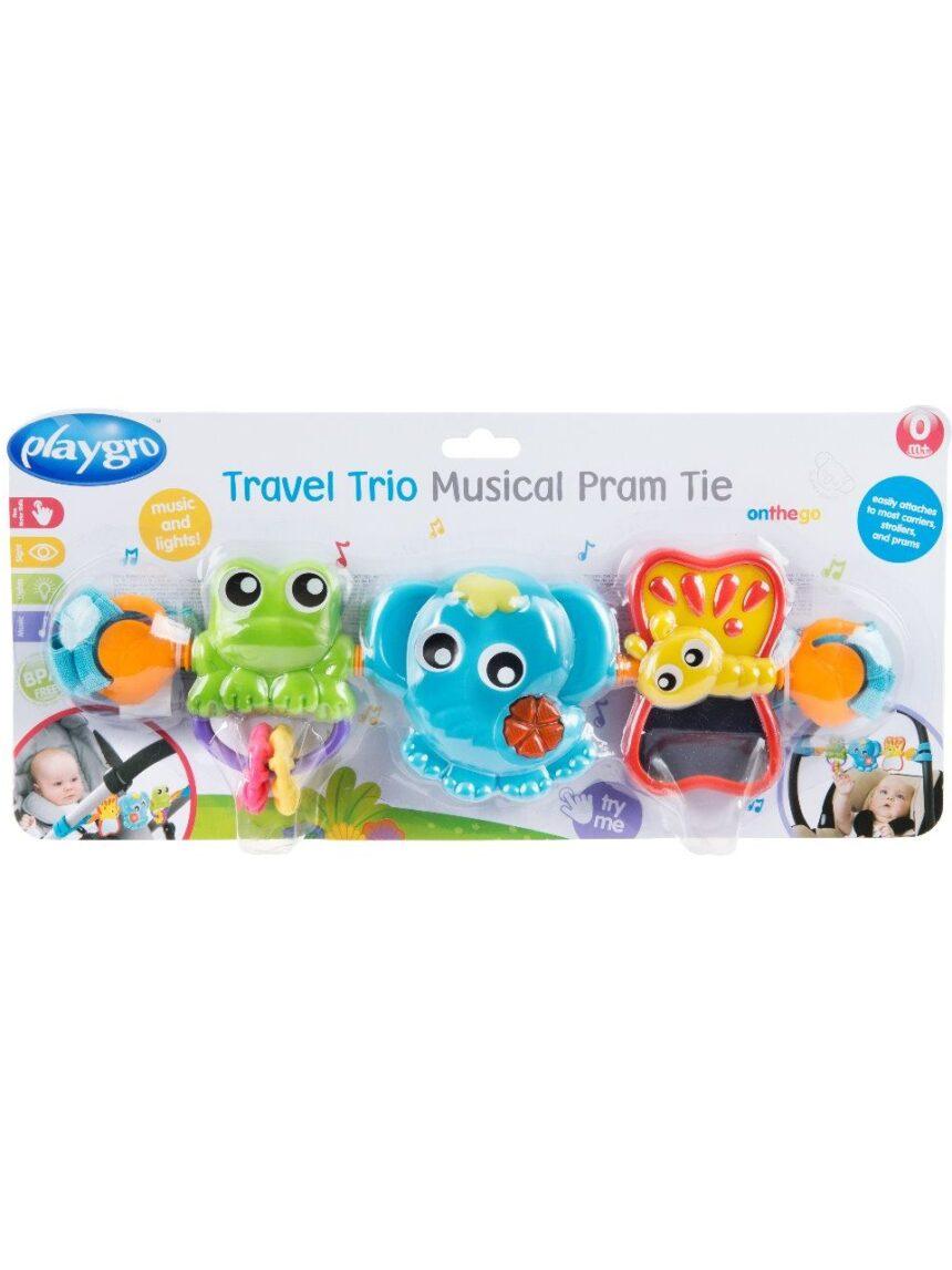 Playgro - tempo de carrinho musical de trio de viagem - Playgro