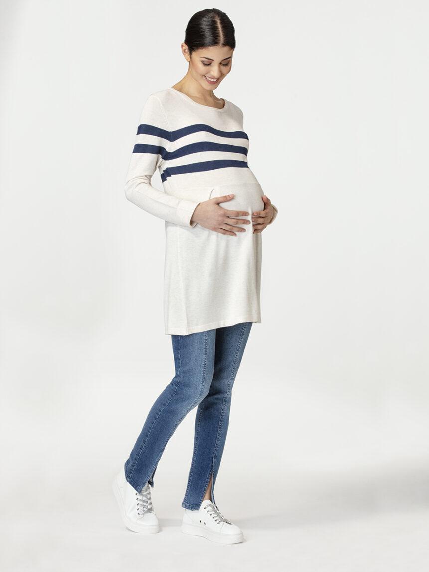 Suéter bege de maternidade com listras azuis - Prénatal