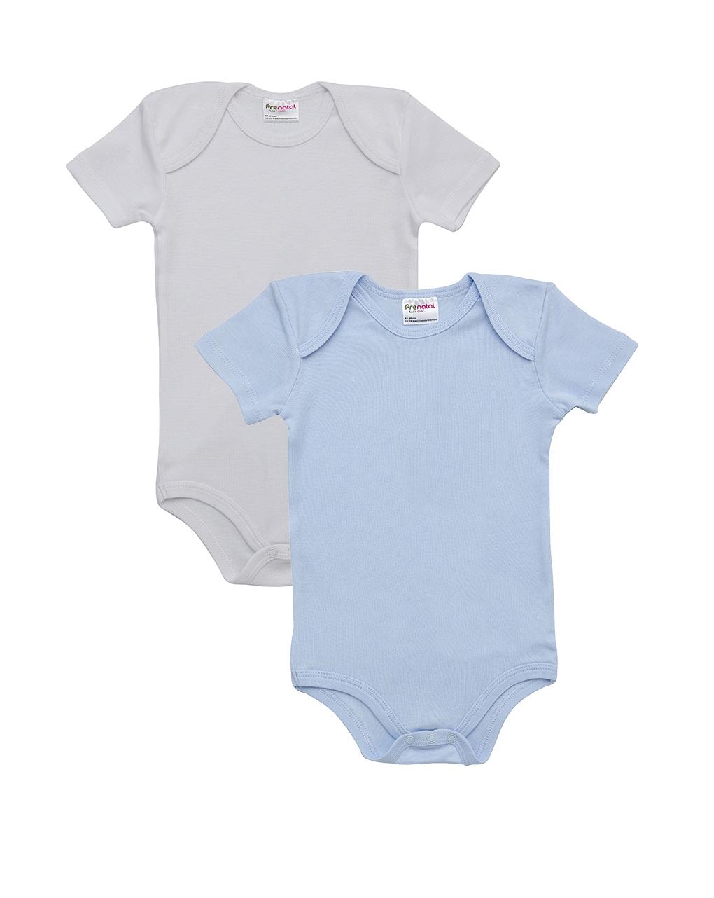 Pacote de 2 bodysuits azul claro e branco - Prénatal