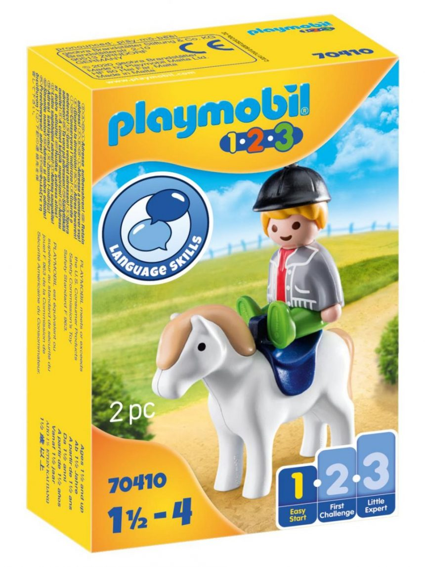 Playmobil - jóquei com cavalo 1.2.3 - Playmobil