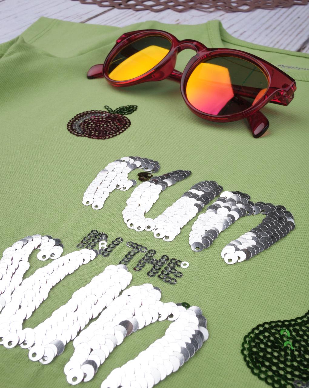 """T-shirt paillettes reversibili """"diversão ao sol"""" - Prénatal"""