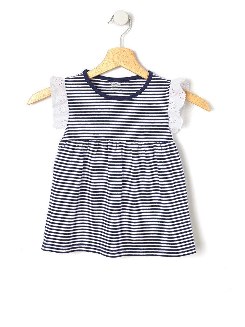 Camiseta listrada com inserções sangallo - Prénatal