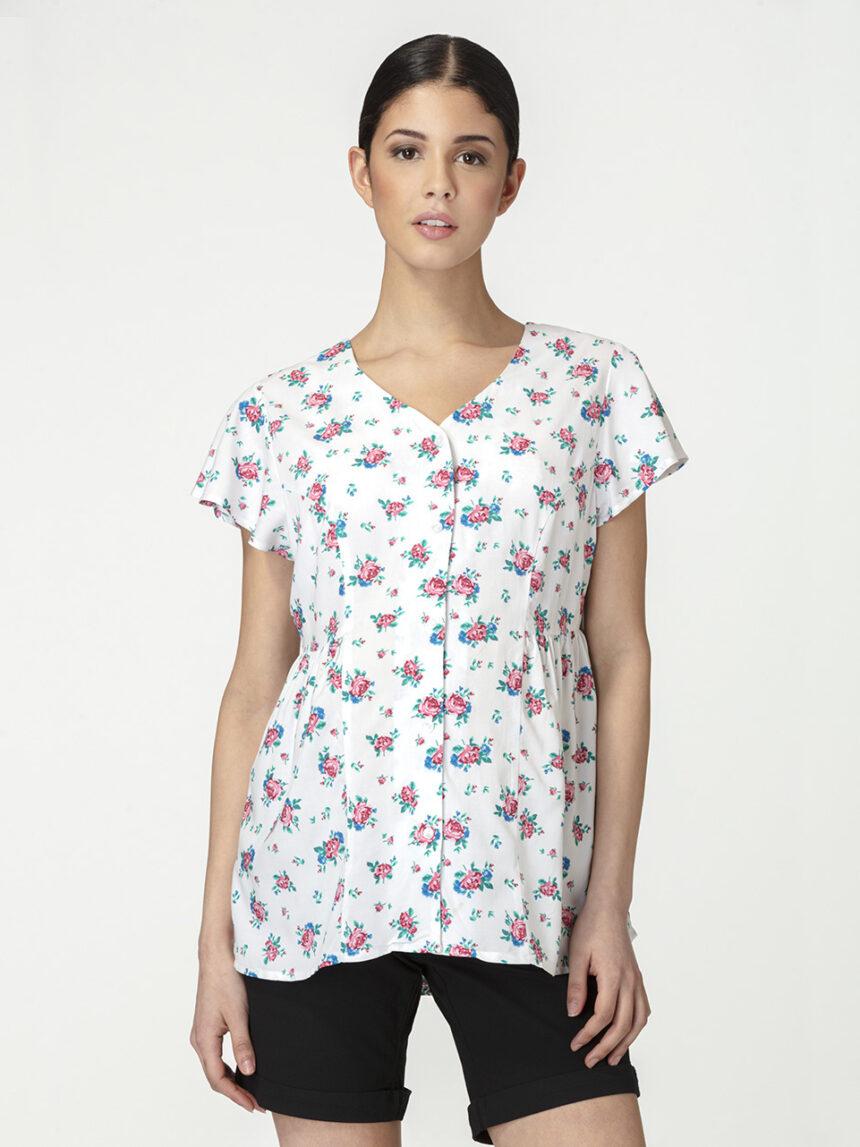 Blusa de amamentação materna com mangas curtas e estampa floral - Prénatal