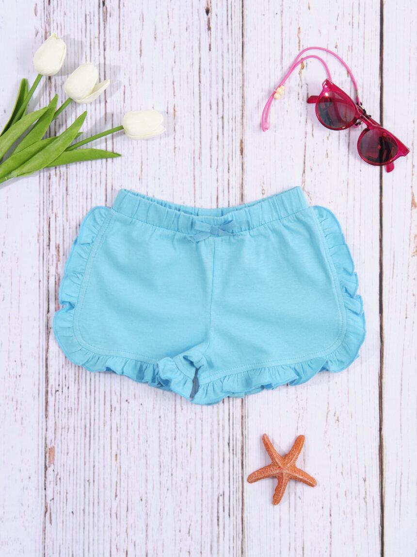 Shorts de bebê de cor sólida azul claro - Prénatal
