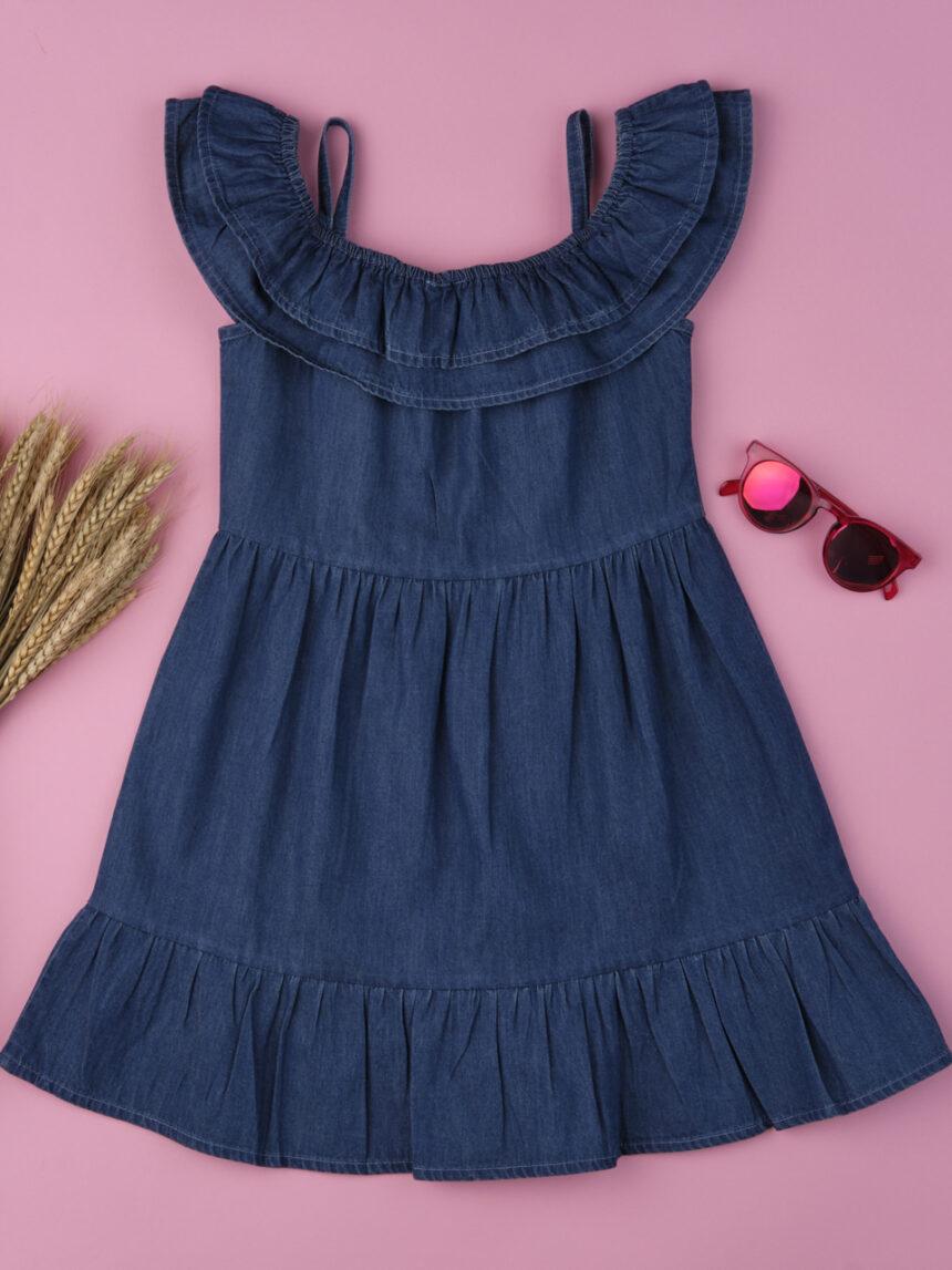 Vestido de menina jeans azul alegre - Prénatal