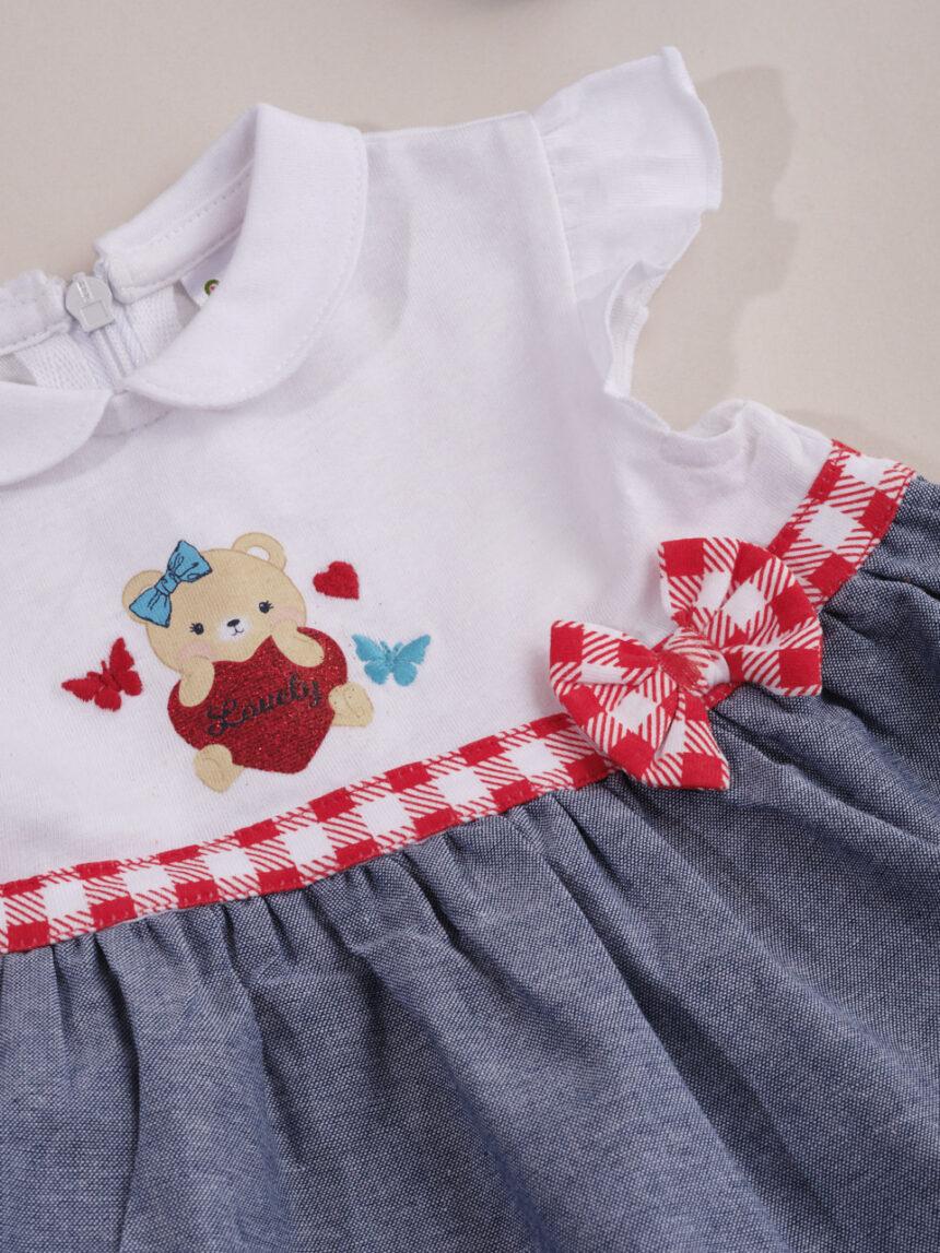 """Vestido de menina """"adorável"""" em dois tons - Prénatal"""