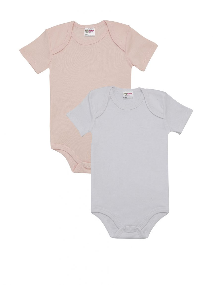 Pacote de 2 bodysuits rosa e branco - Prénatal