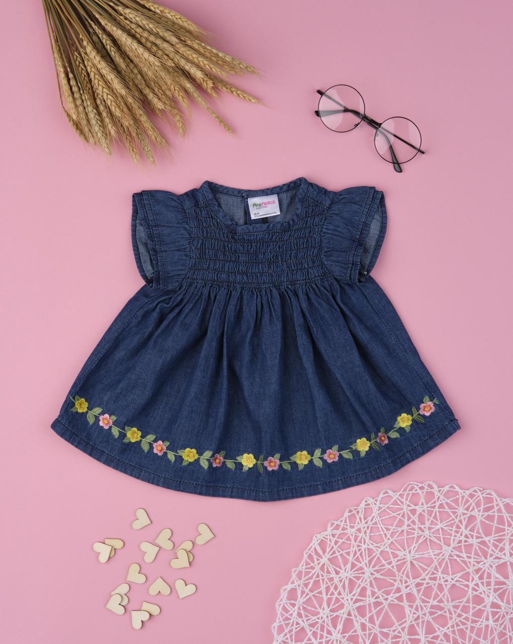 Camisa de menina chambray com flores - Prénatal