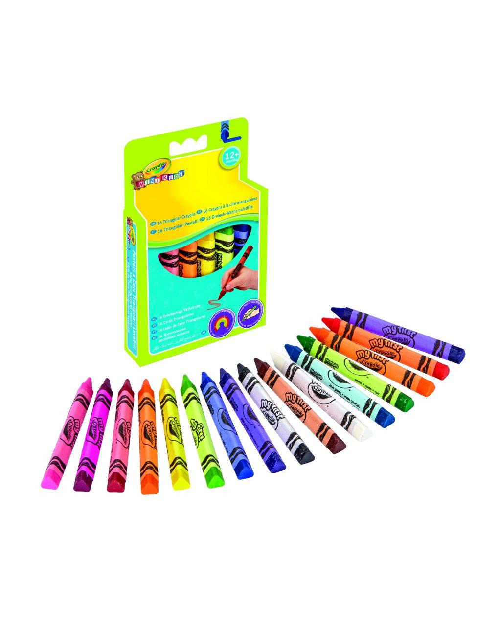 Crayola - 16 lápis de cera triangulares laváveis mini kids - Crayola