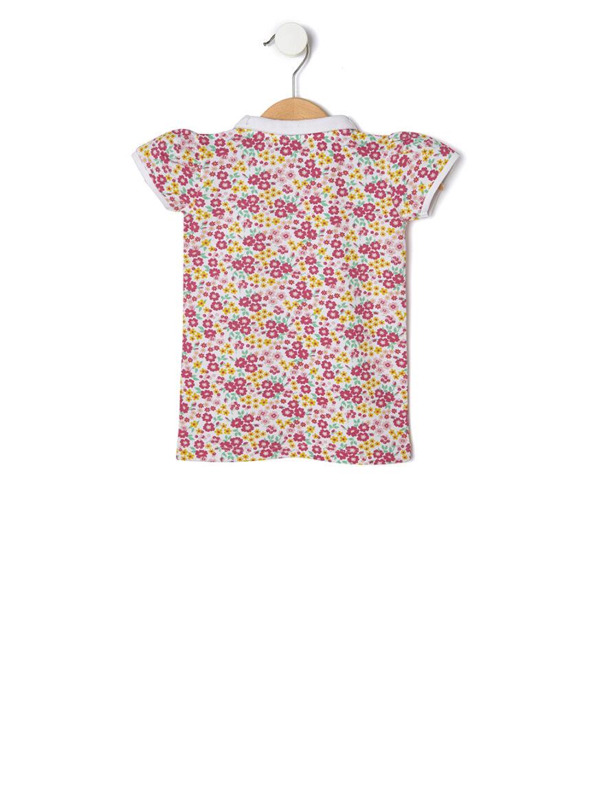 Camisa polo piquet com estampa de flores em toda parte - Prénatal