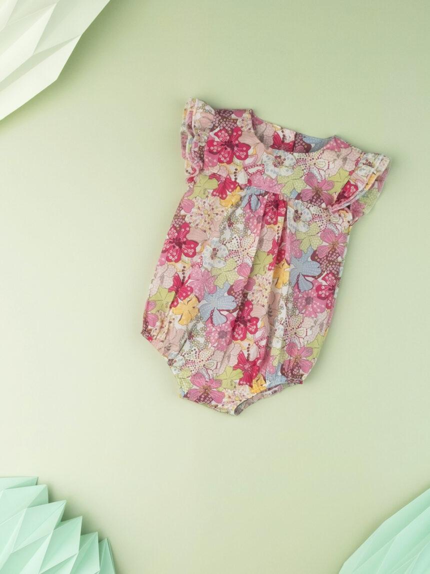"""Macacão """"sweet flower"""" para recém-nascidos em tecido liberty - Prénatal"""