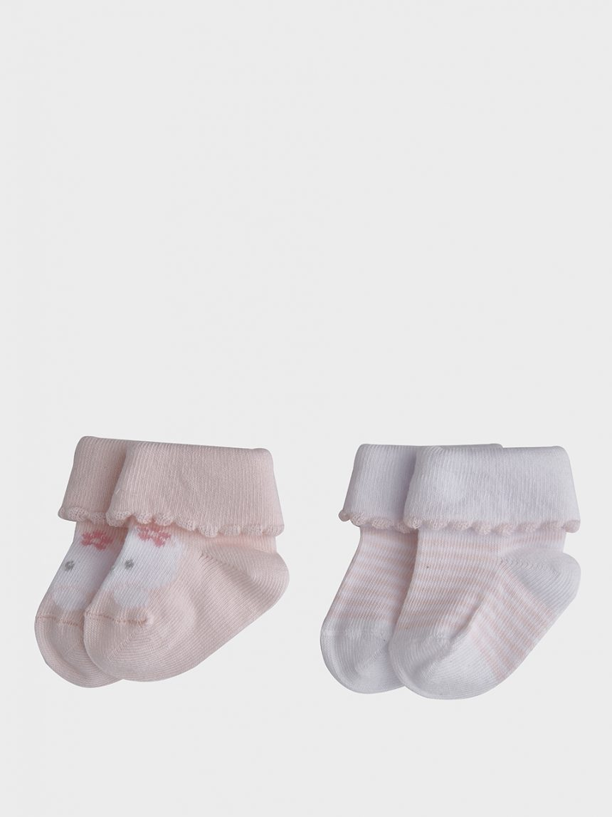 Pacote de 2 pares de meias de algodão rosa com ursinho de pelúcia e listras - Prénatal