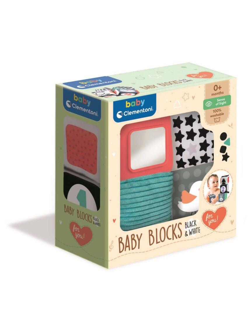Clementoni para bebês - blocos de atividades macios em preto e branco - Clementoni